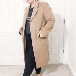 Vintage Cashmere Wool Double Breasted Tan Coat